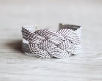 Sailor knot bracelet, Light Grey Bracelet, Nautical Rope Bracelet, Bridesmaid Bracelet, Everyday Jewelry, Rope Knot Bracelet,Grey Bracelet