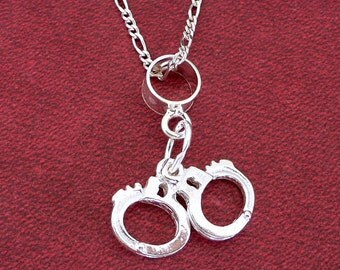 """HANDCUFFS POLICE or LOVERS 3D Sterling Silver Pendant Plus Sterling Silver 20"""" Chain Necklace"""