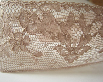Vintage French Lace - Taupe Vintage Lace  -1 yard
