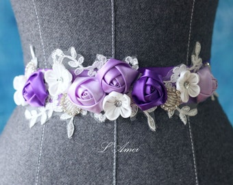 Custom Made Purple and Ivory Bridal Belt Wedding Sash Accented with Bling, Purple flower wedding dress sash belt