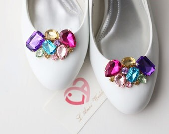 Pair Rainbow Crystal Rhinestone Wedding Bridal Shoe Clips