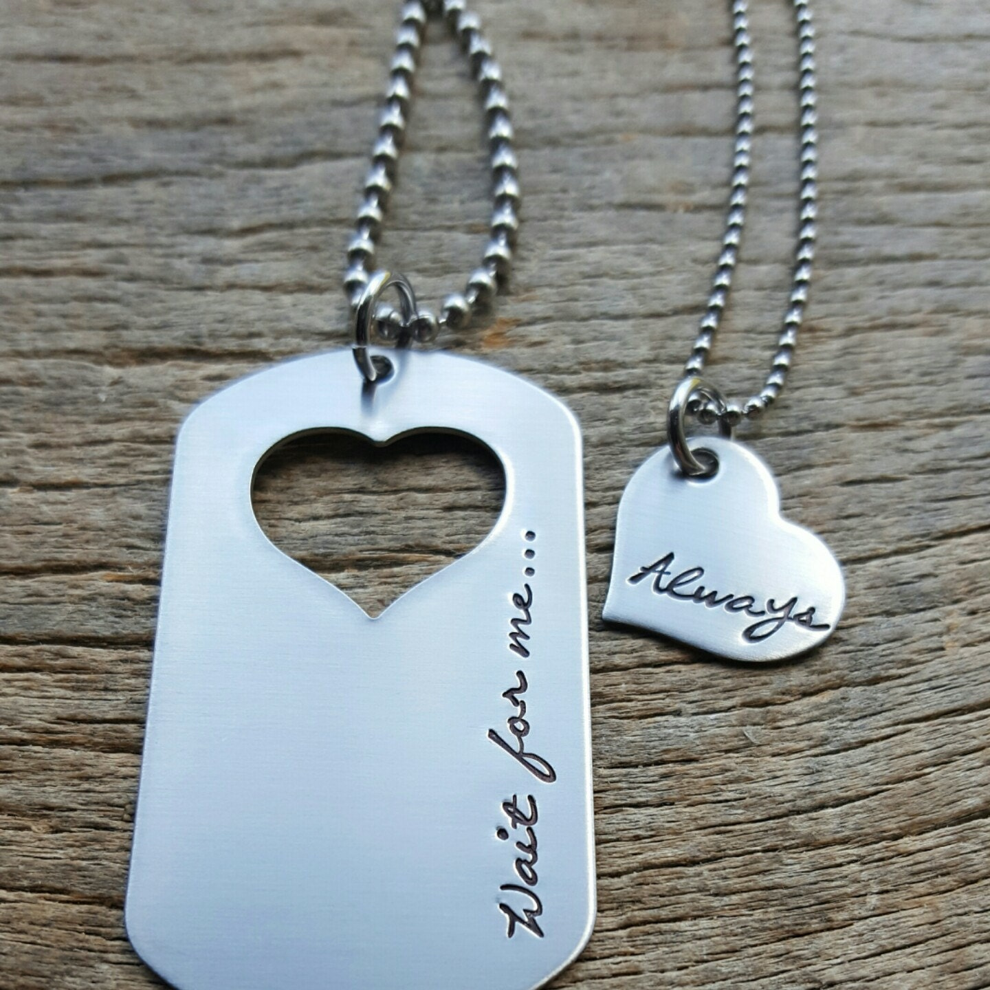 Couples Necklace Set Dog Tag With Wait For Me... Always Heart