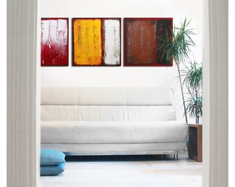 Acrylic Painting, Canvas Wall art, Serie 3 in REDS 333, Abstract Painting, Serie of three, Modern Art, Wall decor, Landscape painting