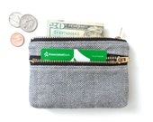Herringbone Wallet Coin Purse Double Zipper Pouch Blue