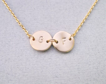 Initial necklace, Personalized Initial necklace, Gold filled necklace, Monogram Necklace, Beast friend necklace, Mother Daughter necklace,