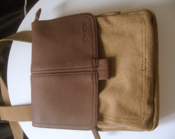 Messenger bag canvas /cross body messenger vintage/safari bag canvas and faux leather