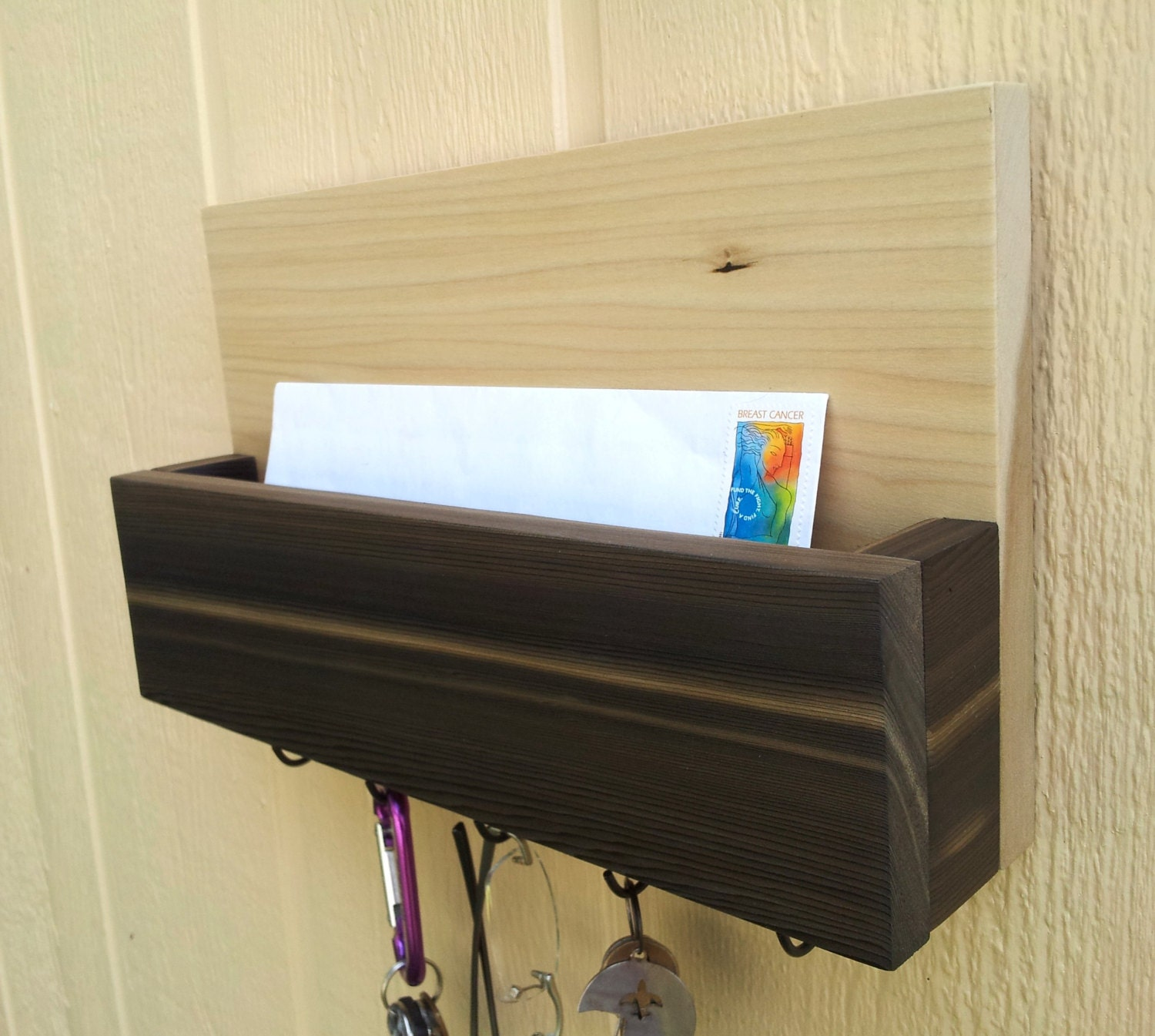 Mail and key rack letter holder very rare grain cedar and - Letter rack and key holder ...