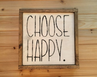 choose happy, choose happy sign, farmhouse home decor
