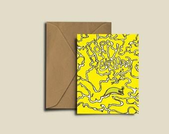 Slug Slime Trail Birthday Card. Blank A6 300GSM Greetings Card.