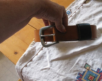 vtg cowhide belt 2 in with heavy silver buckle brown belt with black loop awesome vtg free ship sz 40 total length 43