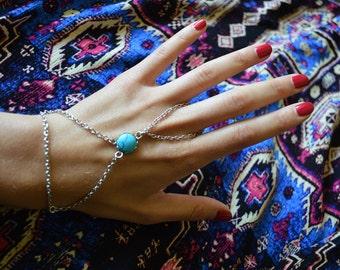 Silver slave bracelet, bracelet ring, slave ring, ring connected to bracelet. Turquoise slave ring. Boho