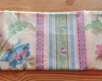 Vintage cotton fabric with beautiful flowers and stripes and pink and blue flowers. 3 yards