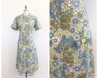 60s Green and Blue Mod Floral Print Scooter Dress / 1960s Vintage Nylon Abstract Tree Print Mini Dress / Large / Size 14
