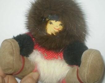Vintage Alaskan handmade doll- Inuit doll- Alaska souvenir doll- hand made fur trimmed doll- made in Alaska doll- Eskimo doll -Inuit Eskimo