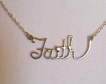 Sterling Silver Faith Necklace with 2mm CZ - Inspirational - Handmade - Valentine