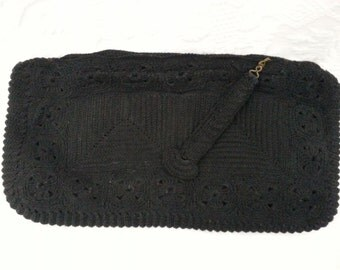 Vintage 1940's black corded handbag purse
