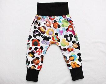 I spy Mouse Heads Baby Harem Pants Toddler Harem Pants 3 mos to 6 years Kids Mickey Harem pants Baby Boy Mickey Pants Baby Girl Harems