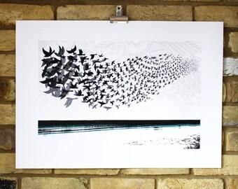 Starling murmuration screen print - limited edition hand printed screen print - 4 colour bird print - birds in flight - seascape art