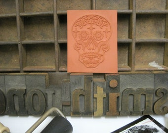 """Rubber Stamp Print Block of Sugar Skull """"Tears of Faith"""" Rubber Stamps - Day of the Dead - Halloween Themed - Custom Stamps"""