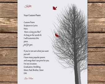 Graduation Gift from Mom Lyrics, Poem, Scripture CUSTOM Personalized Print from Parents to Daughter Gift to Son Graduating Going Away Gift