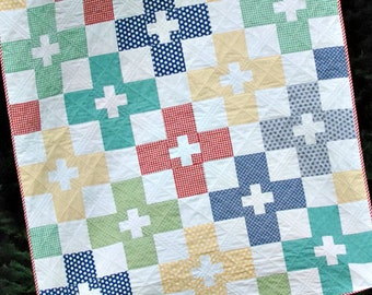 Check Plus - digital quilt pattern - a fat quarter, beginner friendly pattern - baby, lap, twin, and king sizes