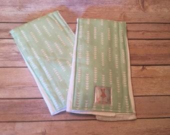 Mint Arrow Baby Burp Cloths - Set of 2