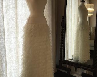 Ruffled Tulle Maxi Skirt with Tiered Ruffles in Ivory, Blush Pink, or Black, Handmade Women's Romantic Boho Skirt