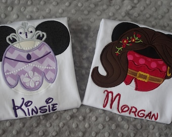 Princess Elena of Avalor or Sofia the First Mouse Ears Appliquéd Shirts or Onesies-- Family Vacation Shirts