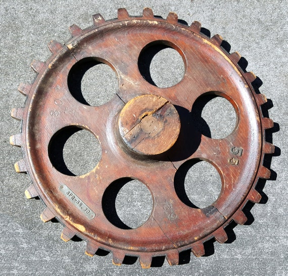 Antique Wheels And Gears : Antique wooden gear toothed wheels foundary cog steam punk
