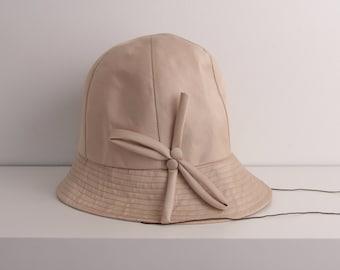 Vintage 1960s pink Spring hat cotton sateen Nino Flex