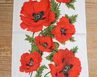 Vibrant Poppy linen dish towel