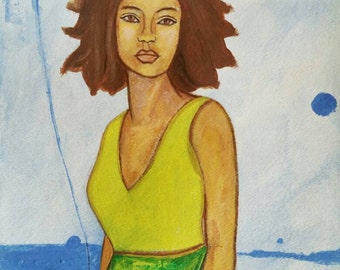Original Modern African American portrait painting ArT 9x12