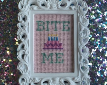 Framed Bite Me Cross Stitch