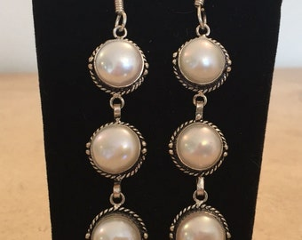 White Agate Silver Plated Earrings