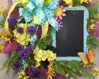 Whimical Chalkboard Mesh Spring and Summer Wreath