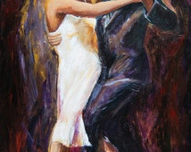 Tango dancers, limited edition giclee on canvas, tango painting, dance painting 24x36
