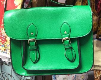 Green Satchel Messenger / Shoulder Bag (New)