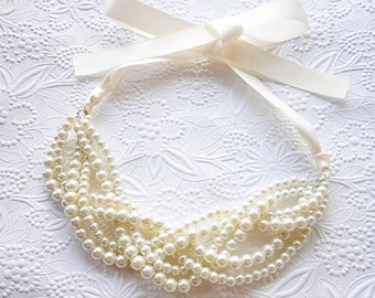Pearl Statement Necklace, Bridal Pearl Necklace, Pearl Necklace with Ivory Ribbon, Bridesmaid Necklace