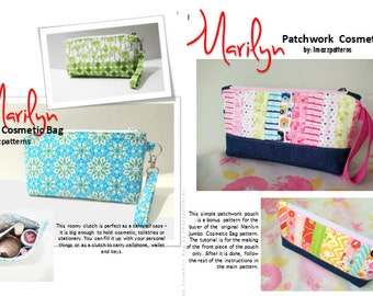 3 PDF patterns ( BONUS : 1 patchwork )  - cosmetic bag / stationery case - big size bag  fits your items - easy to make-detailed instruction