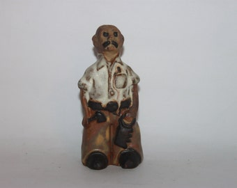 Tremar studio pottery figure, carpenter, Cornwall, hand crafted 1970s