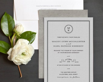 Tailored Monogram Wedding Invitation Sample