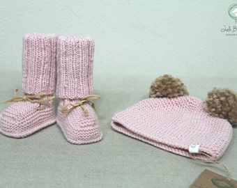 Hand knitted Cashmere Baby Booties with Suede Ties Pom Pom Hat Beanie Set Sizes 0-3 months, 3-6 months, 6-12 months