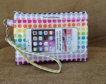 iPhone 6 Wristlet in Rainbow Dots