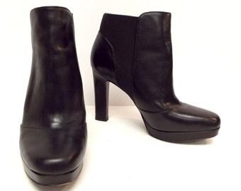 Vintage VIA SPIGA Size 6 Black Leather Ankle Boots