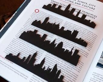 Custom Hand-cut Silhouette Bookmark- Choose Your City, Travel Bookmark, City Skyline