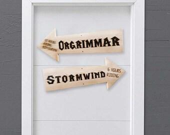 Wall decor World of Warcraft -  Stormwind arrow wood sign - Orgrimmar arrow wood sign -Arrow  Wooden sign - Pyrography.