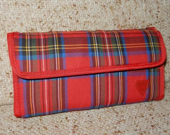 Vintage Red Plaid Wallet by Highland Fling Brand from 1987