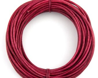 Pink Fuchsia Natural Dye Round Leather Cord 1.5mm - 10 Feet