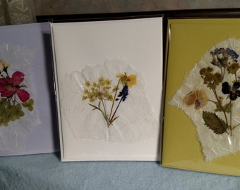 Pressed Flower Greeting Cards from Linda's Minnesota Garden