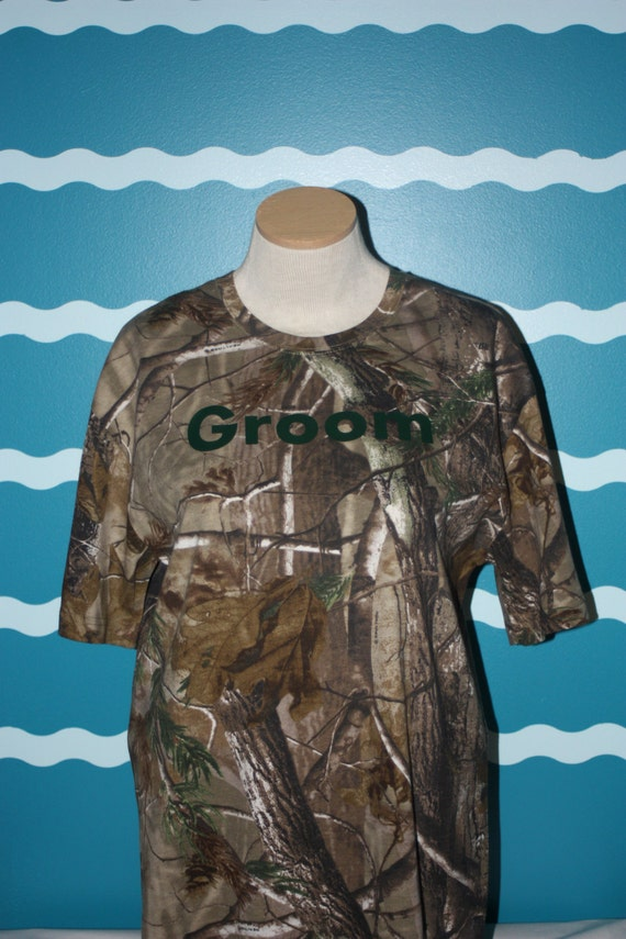 Camoflauge groom tshirt - buck and doe bridal party - gift for the groom - wedding party gift - camo wedding shirts - honeymoon shirt
